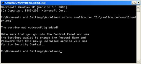 "Etape 1 instsrv smallrouter ""C:/smallrouter/smallrouter.exe"""
