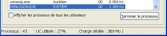 Processus WINLOGON.EXE (proprietaire SYSTEM)