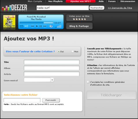 Ajouter un MP3 de votre collection personnelle
