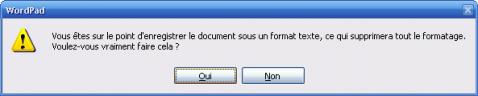 Sauvegarde au format DOS sous Wordpad - alerte