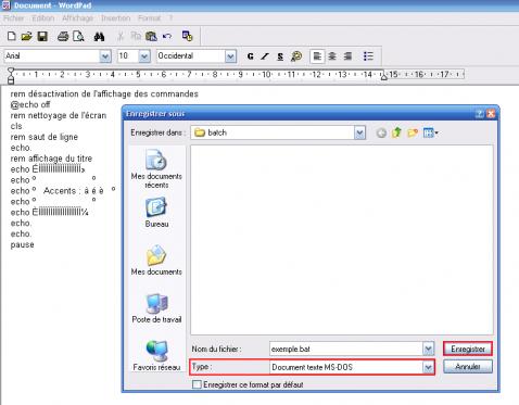 Sauvegarde au format DOS sous Wordpad
