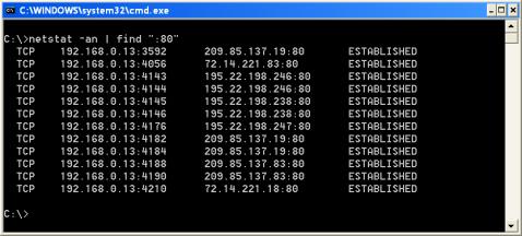 Netstats avec FIND en paramètre pour la recherche