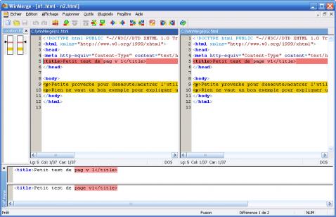 WinMerge - exemple avec du html