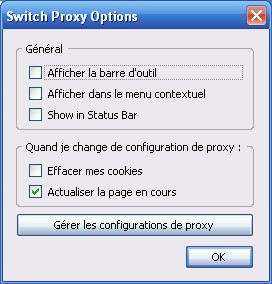 Options de SwitchProxy Tool suite