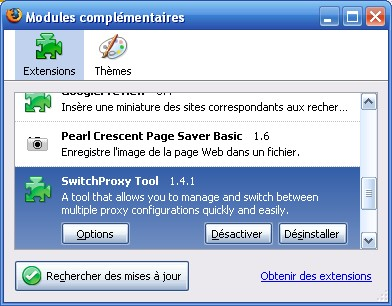 Options de SwitchProxy Tool