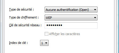 Configuration du cryptage WEP (WiFi)