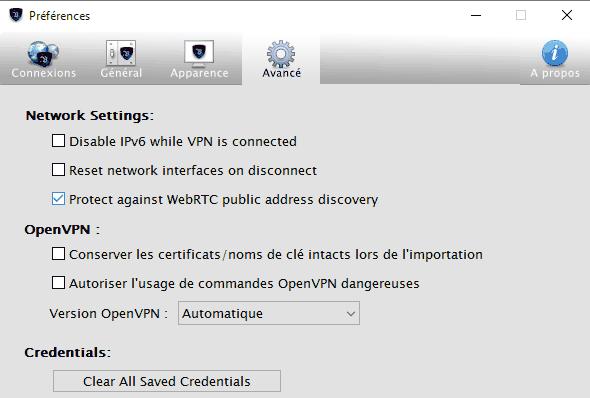levpn-interface-avance