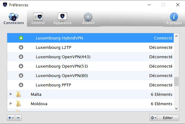 levpn-interface-connexions