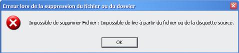 Impossible de supprimer