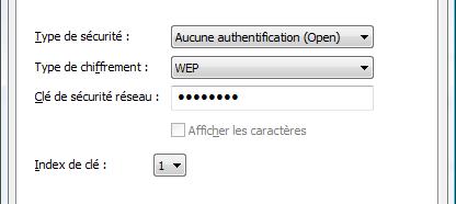 Configuration du cryptage WEP (WiFi)