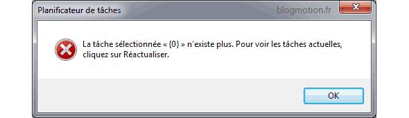 """La tache sélectionnée """"{0}"""" n'existe plus. Pour voir les tâches actuelles, cliquez sur Réacutaliser."""